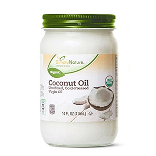 Coconut Oil Unrefined, Cold-Pressed Virgin Oil by Simply Nature 3-Pack (14 fl oz/each) (Simply Coconut Oil)
