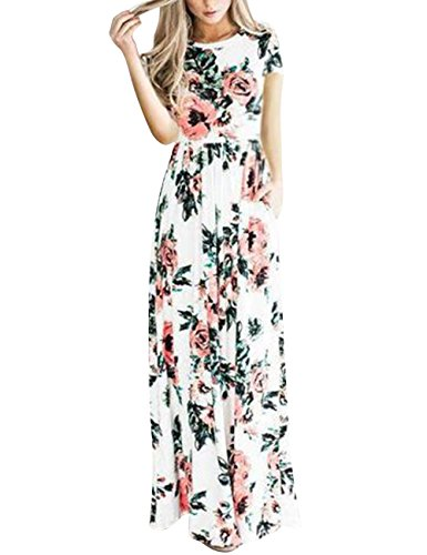 YOUCOO Women Floral Printed Short Sleeve Empire Maxi Dress with Pocket - Floral Empire Dress