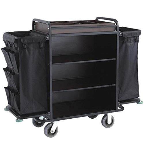 DIOE Housekeeping cart, 3 Shelves, 2 Bags, with a Grid,Transportcar Black,Hotel/roomCleaning Hotel Trolley, Service Truck, Shelf, Cleaning Dolly