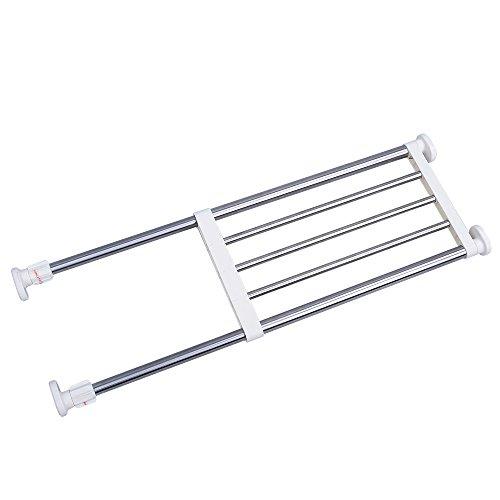 Tension Shelf Closet Storage Rack, Heavy Duty Stainless Steel Adjustable Organizer for Wardrobe, Cupboard, Kitchen, Bathroom Use, 19-31 Inch