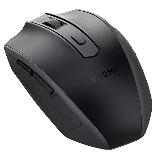 Kroma CompactErgo 2.4GHz Wireless Portable Mobile Mouse Optical Mice with USB Receiver, 3 Adjustable DPI Levels, 6 Buttons for Notebook, PC, Laptop, Computer, Macbook - Black