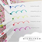 Zebra Highlighter Mildliner, 5 Bright Color Set