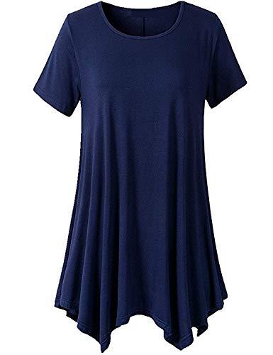 Rotondo Top Monocromo T Eleganti Magliette Stile Tshirt Baggy Collo Moda Irregular Corta Giovane shirt Accogliente Estivi Casual Shirt Modern Manica Donna wpIq8f1