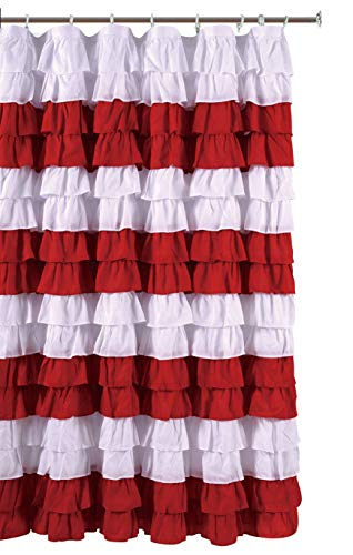 spring Home Waterfall Ruffled Fabric Shower Curtain (Strip ()