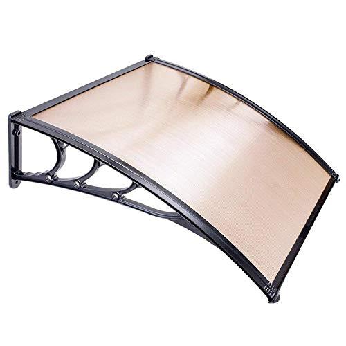 Koval Inc. 3 ft DIY Overhead Clear Outdoor Awning Patio Cover Door Window Polycarbonate Modern Design UV Rain Sunshine 3 FT, Coffee