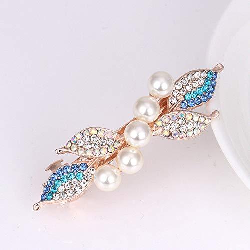 Women Girl Crystal Rhinestone Pearl Leaf Barrette Hair Clip Hairpin Hair Jewelry (Color - Pearl-Blue) ()