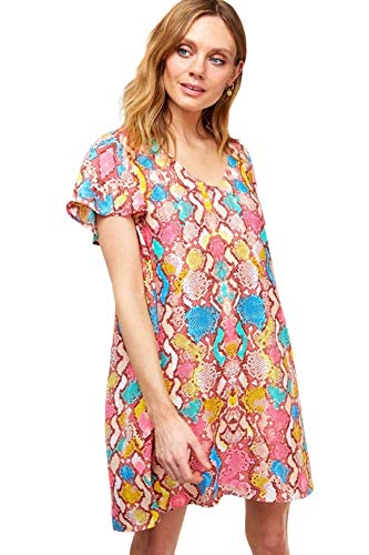 Women's Fun Animal Printed Short Dress with Sleeves (Small)