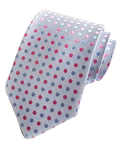 MENDENG Classic Polka Dot Black Red Blue Jacquard Woven Silk Men's Tie Necktie