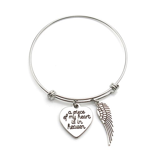 Heart Pieces (Memorial Jewelry A Piece of My Heart is in Heaven Angel Wing Necklace or Bangle Bracelet Memorial Gift (Bracelet))