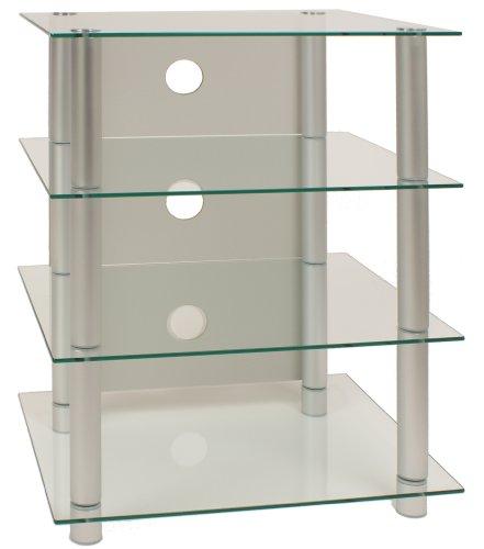 ONUX Hifi-Möbel Rack Phonomöbel Regal Tisch Alu / Glas Klarglas