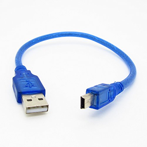 JIUWU Blue Short USB 2.0 A Male to Mini 5Pin B Male Data Charging Cable 30cm