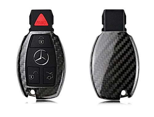 Fiber Carbon Deluxe - Pinalloy Deluxe Real Carbon Fiber Remote Key Cover Case Shell for Mercedes Benz