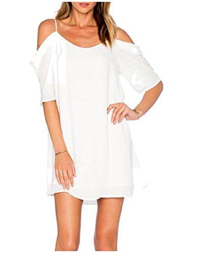 Imbracatura Mini Bianco Comodo Più Formato Spalla Off Solido Abito Chiffon Donne Wfnv6