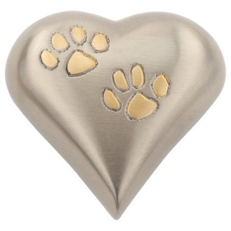 Silverlight Urns Two Paws Heart Keepsake Urn, Silver Mini Heart Shaped Pet Urn for Ashes, 3 Inches Wide