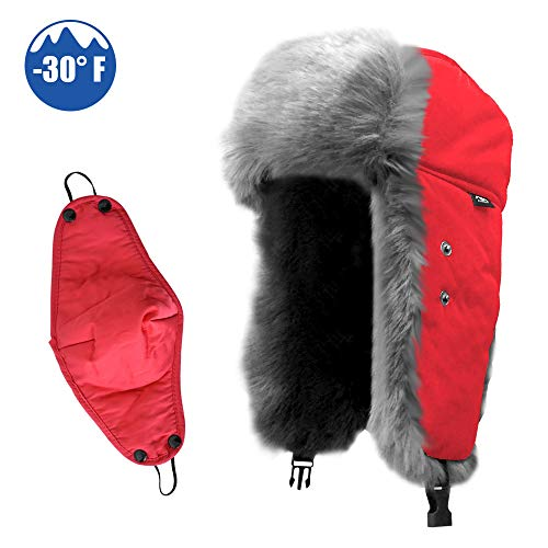 - IC ICLOVER Winter Trapper Hat with Ear Warmer, Russia Style Ski Bomber Cap with Chin Strap Ear Flap Faux Fur Windproof Mask Aviator Trooper Hat for Boys/Girls/Men/Women,Red