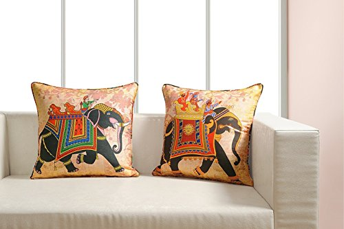 - Digitally Printed Vibrant Color,Ethnic Theme Cushion Cover 18 x18 Inch Set of 2 Reversible,Faux Silk