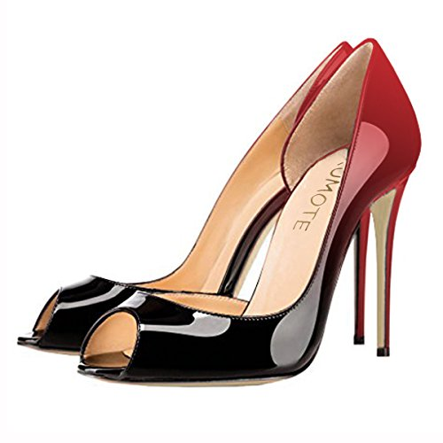 MERUMOTE Womens J-020 Sexy Peep Toe Pure Color High Heels Classic Pumps For Party Dress Wedding Red&black