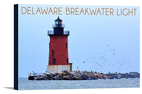 Lewes, Delaware - Cape Henlopen Lighthouse Day (24x16 Gallery Wrapped Stretched Canvas)
