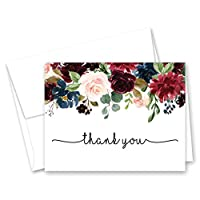 Navy Burgundy Watercolor Floral Thank You Cards (50)