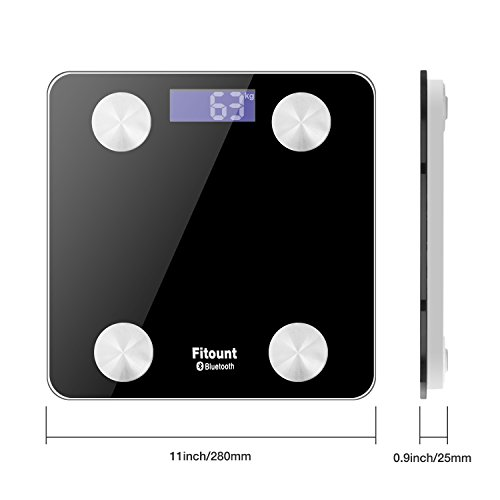 Bluetooth Body Fat Scale,Fitount Smart Wireless Digital Bathroom Weight Gurus Scale Body Composition Analyzer with App for Body weight Body Fat Water Muscle Mass BMI BMR Bone Mass Visceral Fat by Fitount (Image #4)