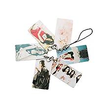Fanstown KPOP EXO BTS keychain/charm strap lomo pendant 6/8 piece all star fan super support+lomo card