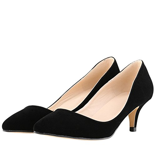 Velvet Pointed Low Classic Women's Faux Heel Pumps Kitten Black Toe aHqw57