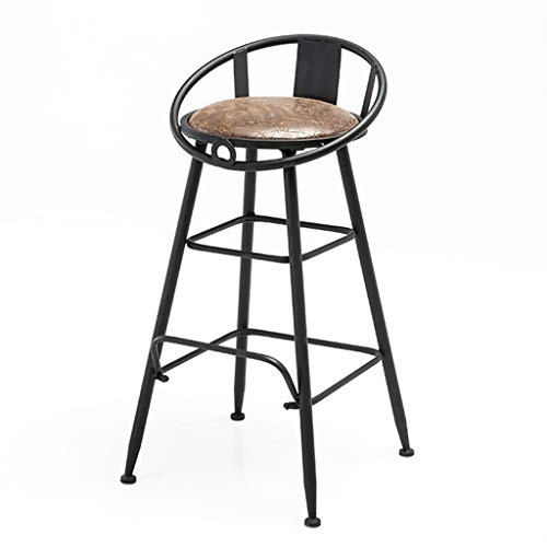 JHome-Barstools 29'' Barstool Dining Chair, Metal Kitchen Pub Bar Stool, PU Seat High Stools with Footrest & Back Stool, Powder Coated Black Max. Load 440lb