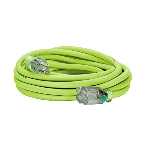 Flexzilla Pro Extension Cord, 12/3 AWG SJTW, 25 ft, Lighted Plug, Indoor/Outdoor, ZillaGreen - 721-123025FZL5F by Flexzilla