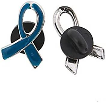 1 Blue Awareness Ribbon Pin Support colon, colorectal cancer, child abuse, respiratory
