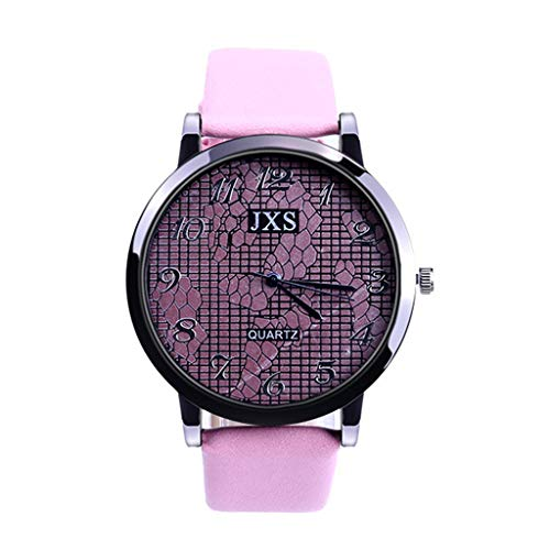 (Amaping Women Stylish Grids Pattern Print Dial Plate Leisure Leather Strap Wristwatch Delicate Simple Elegant Design (Pink))