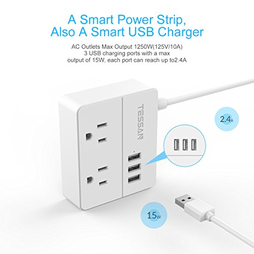 TESSAN Portable 2 Outlet Travel Power Strip with 3 USB Ports Charging Station 5 Ft Cord-White by TESSAN (Image #2)