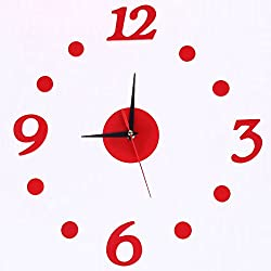 Pannow DIY Removable Diy Acrylic Digital Dot 3D Mirror Wall Sticker Decorative Clock Silent Non-ticking Wall Clock Home Kitchen Office Red