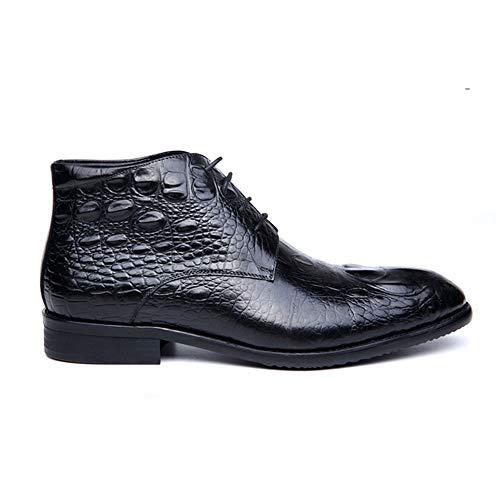23 Lace occidentale Up uomo Nero 5 scarpe del centimetri del centimetri The il da Cowhide Per Yishelle Casual Crocodile fidan a Stivaletti casual marito padre 27 Grain regalo di punta Natale aYq0O6wZ