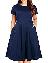 0ee941815d8 Women s Round Neck Summer Casual Plus Size Fit and Flare Midi Dress with  Pocket
