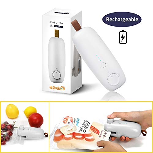 ColorGo Rechargeable Potato Chip Bag Sealer, USB Hand Held Mini Plastic Bag Heat Resealer for Food Storage [Patent Protect] ()