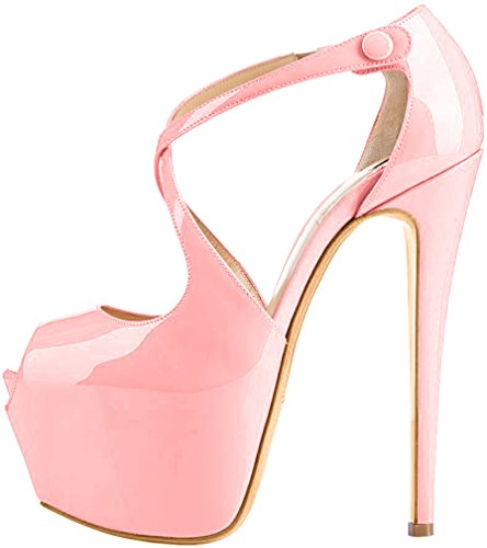 Trusify Mujer 16cm EU tamaño 34-46 Trucrack Tacón de aguja 16CM Sintético Sandalias de vestir Rosa Light