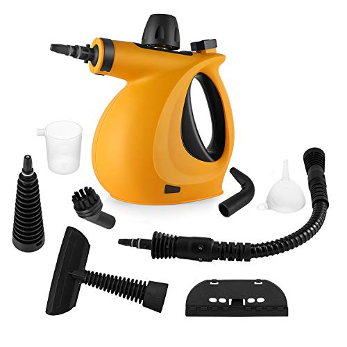 Handheld Pressurized Steam Cleaner with 9-Piece Accessory Set - Multi-Purpose and Multi-Surface All Natural, Chemical-Free Steam Cleaning for Home, Auto, Patio, More (Orange)