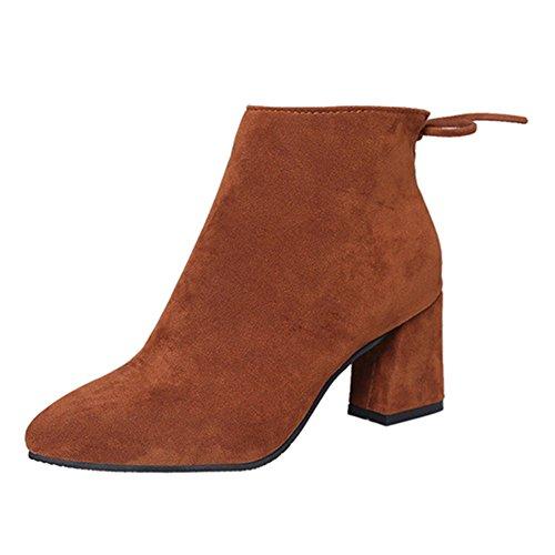 Damenschuhe Boots Schnür Stiefelette Kurzschaft Stiefel Trendige Damens Winter Stiefeletten Damenschuhe Schwarz Grau Weinrot Braun 36 - 45 Highdas Braun