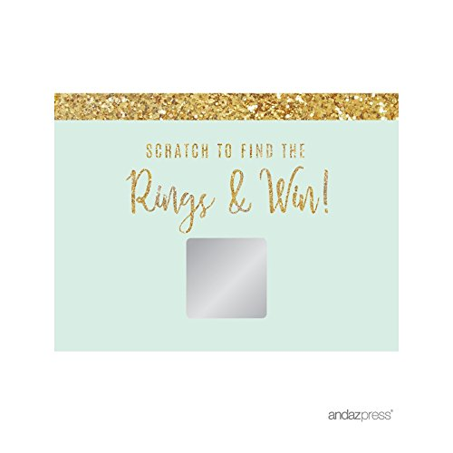 (Andaz Press Mint Green Gold Glitter Print Wedding Collection, Bridal Shower Game Scratch Cards, 30-Pack )