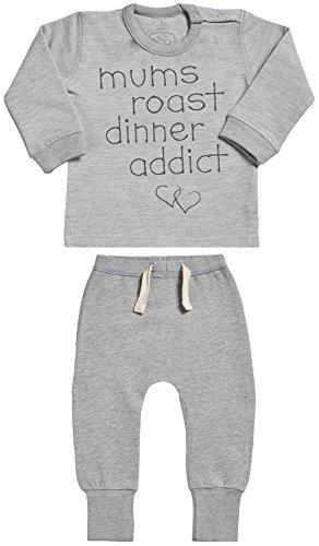 Addict Kids Sweatshirt - SR - Personalised Addict Print Sweatshirt & Jersey Trousers Baby Outfit Set - Baby Boy Gift - Baby Girl Gift - Personalised Baby Gift Set - Grey - 18-24 months