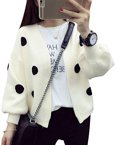 Qualit Polka colire Femme Veste Tricot Manches Dots Manteau Tricot Automne Bonne lgant en Branch Coat Longues en Mode Vtements Cardigan De Blanc Casual PwRgdPx