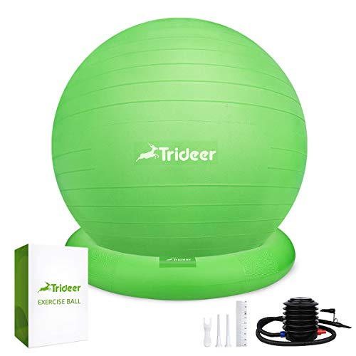Trideer Ball Chair – Exercise Stability Yoga Ball with Base for Home and Office Desk, Ball Seat, Flexible Seating with Ring & Pump, Improves Balance, Back Pain, Core Strength & Posture(Ball with Ring