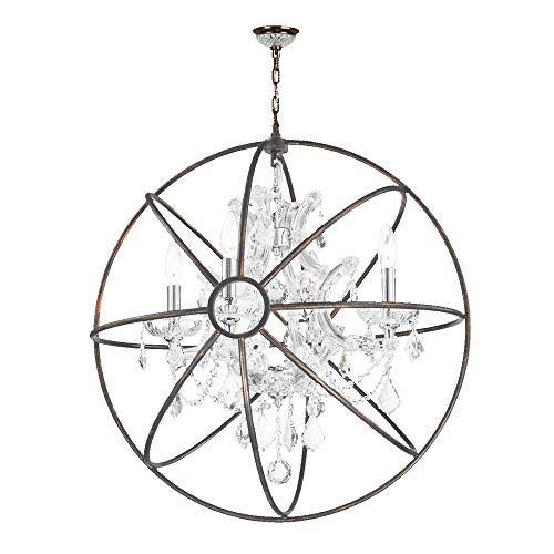Worldwide Lighting Armillary Collection 4 Light Chrome Finish and Clear Crystal with Flemish Brass Cage Finish Foucault's Orb Chandelier 24