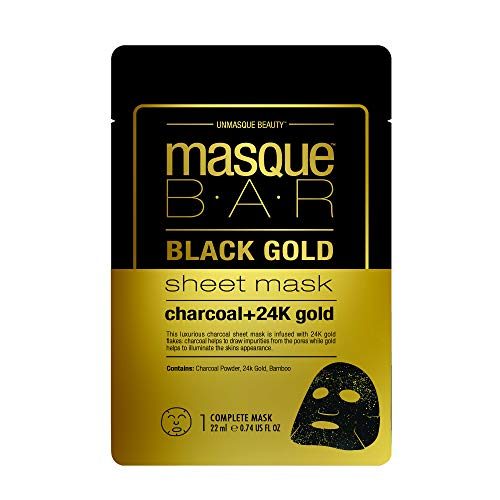 masque BAR Black Gold Sheet Mask with 24k Gold, Charcoal Powder, and Bamboo - Enriched Pore Refiner to Brighten Skin - Made in Korea