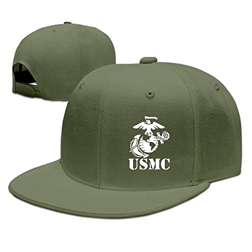 Adjustable Snapbacks Flat Brim Hat Unisex/Men/Women - Eagle Globe Anchor USMC Marine - Marine Camo Globe