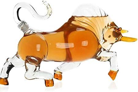 WANGIRL Decantador de Vidrio de Forma de Vaca, Decantador de Whisky, Botella de Vino de artesanía de Vaca, Decantador de Vino de Forma de Animal, Decantador de vidrios artesanales, 500 ml LOLDF1