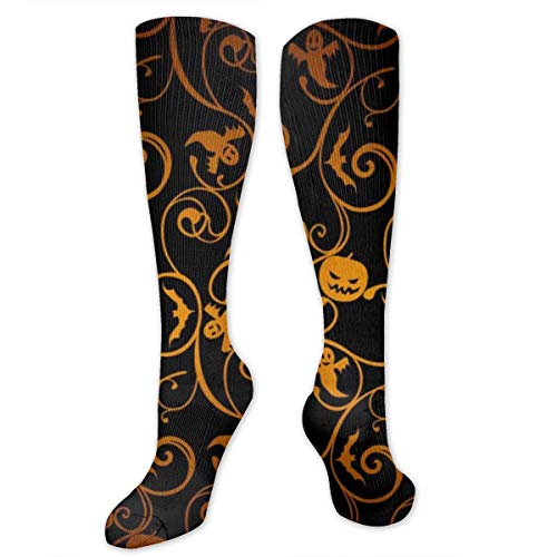 Black Gold Leaf Polyester Cotton Over Knee Leg High Socks Casual Unisex Thigh Stockings Cosplay Boot Long Tube Socks for Sports Gym Yoga Hiking Cycling Running Soccer
