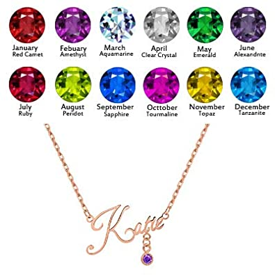 EverThanMore Name Necklace Personalized Custom Name Necklace with Birthstone for Her