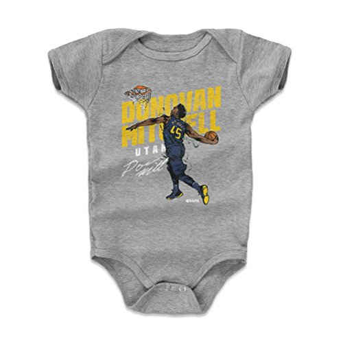 500 LEVEL Donovan Mitchell Baby Clothes, Onesie, Creeper, Bodysuit 3-6 Months Heather Gray - Utah Basketball Baby Clothes - Donovan Mitchell Slam Y WHT (Utah Jazz Onesie)