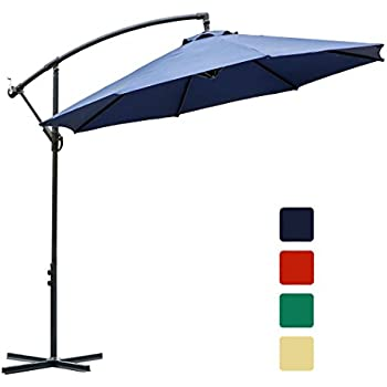 FARLAND 10 Ft Offset Cantilever Patio Umbrella Outdoor Market Hanging  Umbrellas U0026 Crank With Cross Base